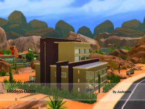 Sims 4 — Modern Oasis by Juulssims — Modern House in Oasis Springs on a 20x15 lot. The first floor has a livingroom with