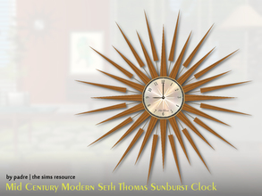 Sims 2 — Mid Century Modern Sunburst Clock by Padre — A Tribute to Seth Thomas of Connecticut, this classic mid century