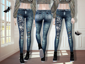 Sims 4 — MFS Maurice Jeans by MissFortune — Standalone, HQ texture, custom thumnail, 6 colors.
