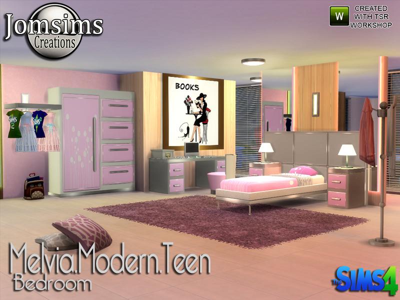 Jomsims 39 melvia modern teen bedroom for Modern teenage bedroom furniture
