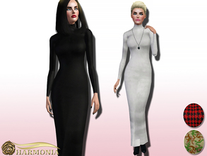 Sims 3 — Stretch-jersey Turtleneck Maxi Dress by Harmonia — Style yours with lace-up pumps and minimal accessories. close