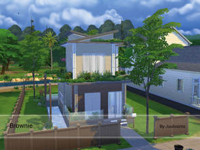 Sims 4 — Brownie by Juulssims — Modern house with brown colors and and some blue here and there. The house has a bathroom
