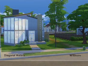 Sims 4 — Diagonal Waters by Juulssims — Modern house for a small family. The house has two bedrooms, one master bedroom