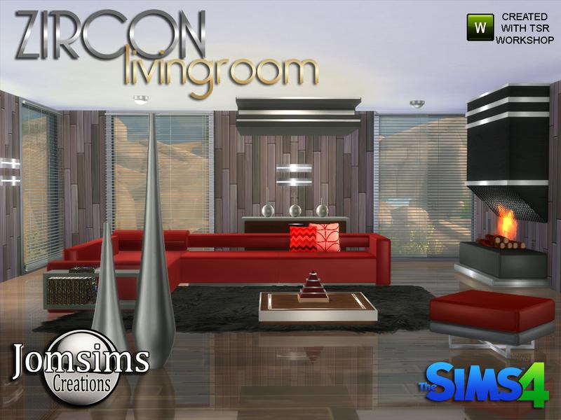 Jomsims 39 zircon modern living room for Modern living room sims 4
