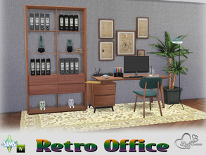 Sims 4 — Retro Office by BuffSumm — Traveling back in time... Retro Office... Stylish, Colorful, Retro :) You get 8 new