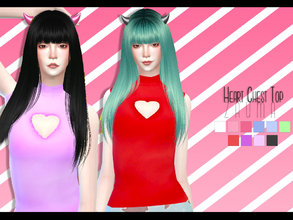 Sims 4 — Yume - Heart Chest Top by Zauma — Hello! New tops with a hole heart in the chest, avaliable on 11 colors with