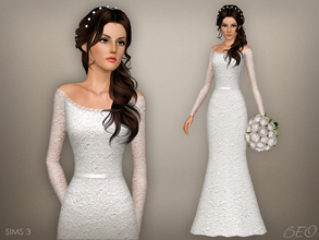 Sims 3 — Wedding dress 47 by BEO — - Dress presented in 1 variant. - Recolorable. - Not valid for random. - Not valid for