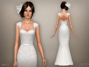 Sims 3 — Wedding dress 48 by BEO — - Dress presented in 1 variant. - Recolorable. - Not valid for random. - Not valid for