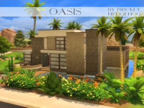 Sims 4 — Oasis by Prickly_Hedgehog — This Oasis in the desert can house up to 6 sims. It has a cozy kitchen, a relaxing