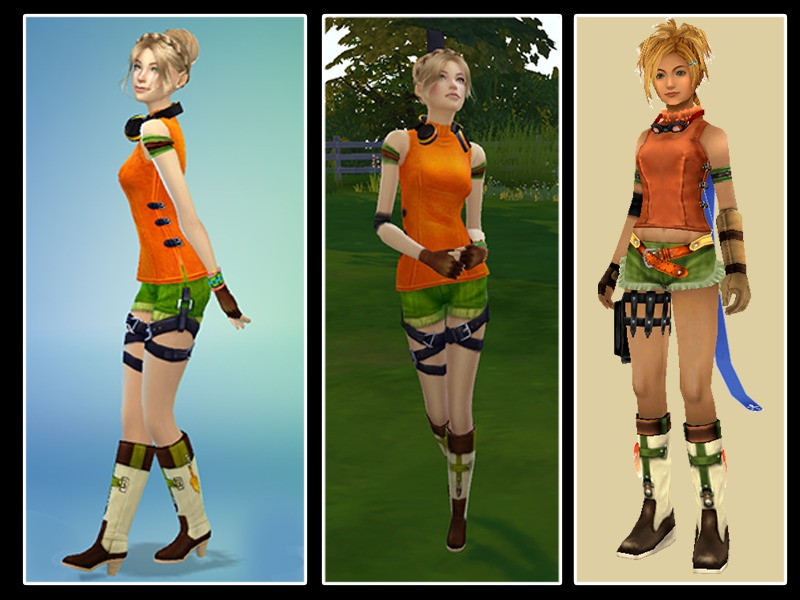 Sims 3 Cartoon Characters : Majdarts rikku ffx look get together needed
