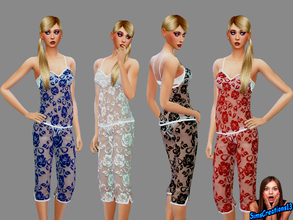 Sims 4 — Pj's Lace Set by SIMSCREATIONS13 — Pj's Lace Set comes in 4 colours, red, black, blue and white.