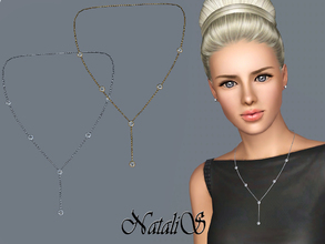 Sims 3 — NataliS TS3 Lariat necklace with crystals by Natalis — Lariat necklace in shine metal with crystals. Suitable