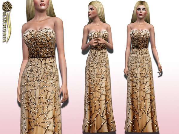 Strapless Chiffon Embroidered Gown by Harmonia