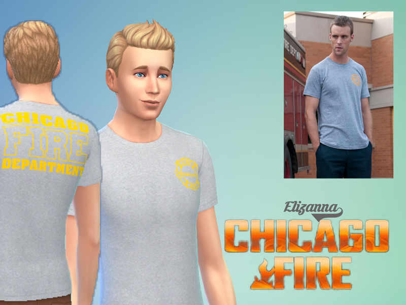 Elizanna S Chicago Fire Department Shirt Grey Yellow