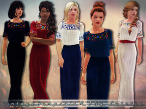 Sims 3 — Vintage Jumpsuit No 3 by Lutetia — This set contains a vintage/mexican inspired jumpsuit ~ Works for female
