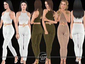 Sims 3 — Crop Top and Trousers by winnie017 — Set of a crop top and trousers with belt details all lod's custom mesh