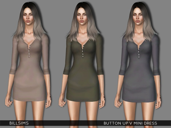 Button Up V Mini Dress by Bill Sims