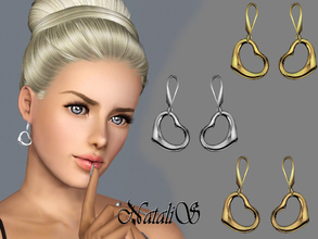 Sims 3 — NataliS TS3 Heart drop earrings FT-FA by Natalis — A unique and feminine drop earrings featuring heart pendant.