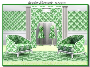 Sims 3 — Gingham Shamrocks_marcorse by marcorse — Themed pattern: crisp green gingham shamrocks for St. Pat's Day 2016
