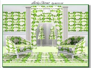 Sims 3 — Lucky Chains_marcorse by marcorse — Themed pattern: interlocking shamrock chains in shades of green on cream.