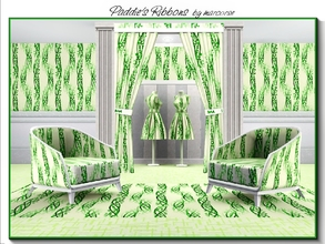 Sims 3 — Paddies Ribbons_marcorse by marcorse — Abstract pattern: shamrock ribbons in bright green on cream