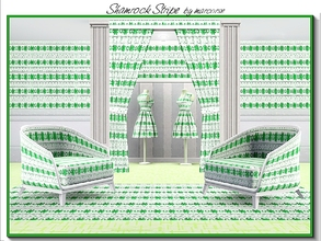 Sims 3 — Shamrock Stripe_marcorse by marcorse — Themed pattern: stylised 4leaf clovers and horizontal embroidery in a