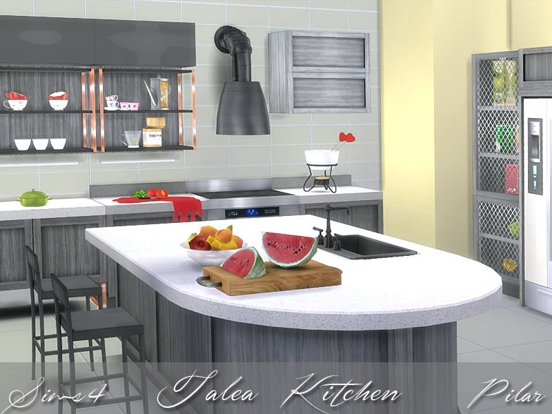 Pilar 39 s talea kitchen for Kitchen set sims 4