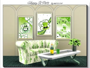 Sims 3 — Happy St Pat's_marcorse by marcorse — Set of 3 line art paintings for St Patrick's Day 2016. 1 file.