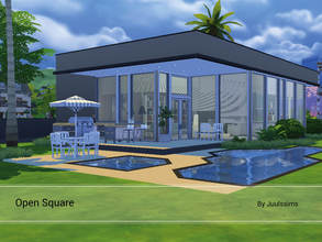 Sims 4 — Open Square by Juulssims — Modern house, nice blue toned spacious house. The first floor is one big open area,