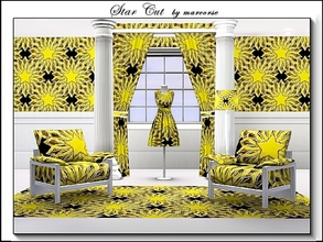 Sims 3 — Star Cut_marcorse by marcorse — Geometric pattern: star paper cut in yellow and white on black