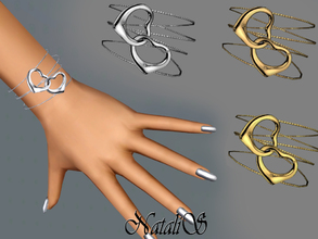 Sims 3 — NataliS TS3 Two heart bracelet  FT-FA by Natalis — A unique and feminine bracelet featuring two heart detail.