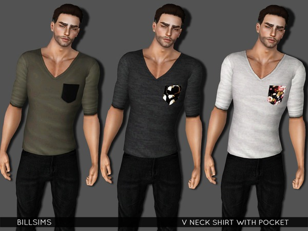 V Neck Shirt With Pocket by Bill Sims