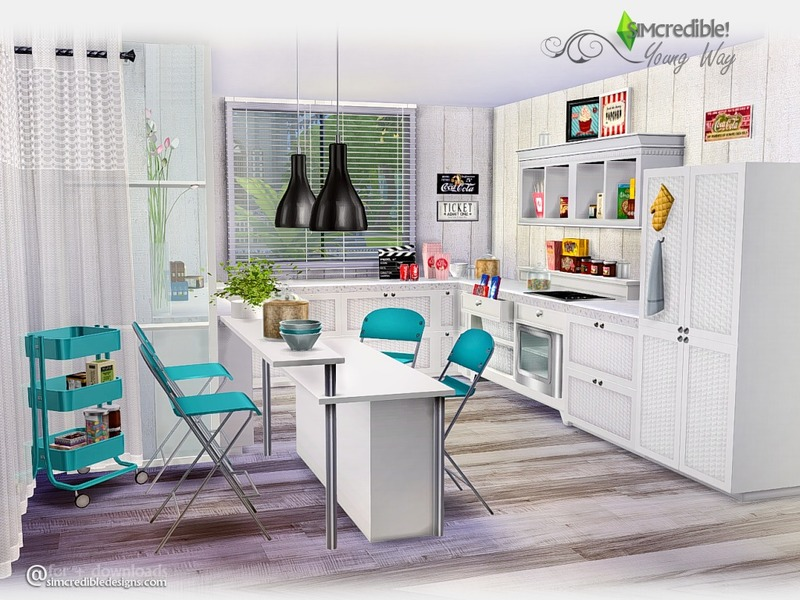 Simcredible 39 s young way kitchen for Kitchen set for 4 year olds