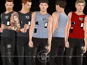 Sims 3 — Patch Applique Sleeveless T-Shirt by winnie017 — Sleeveless T-Shirt with patches recolorable (1 channel) custom