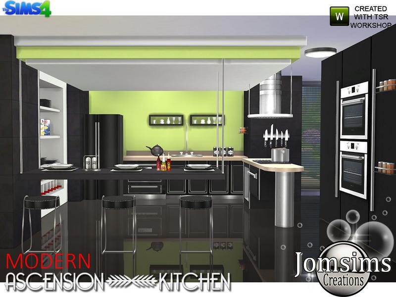 Jomsims 39 modern ascension kitchen for Kitchen set sims 4