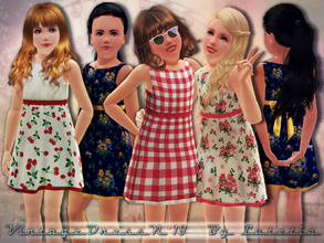 Sims 3 — Vintage Dress No 19 by Lutetia — A cute vintage inspired dress with bow ~ Works for female children ~