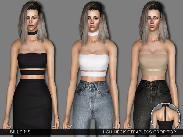 High Neck Strapless Crop Top by Bill Sims