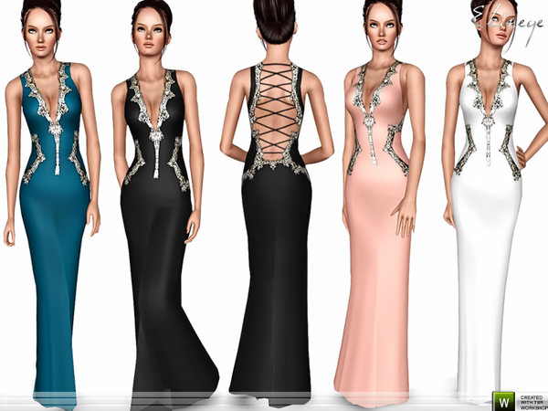 Lace Up Back Evening Gown by ekinege