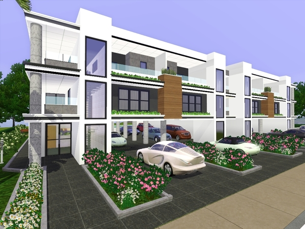Gabi89 39 s modern row houses for Modern house sims 3