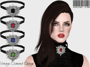 Sims 3 — Vintage Diamond Choker by KareemZiSims2 — At first, it was supposed to be a diamond brooch, but I used it to