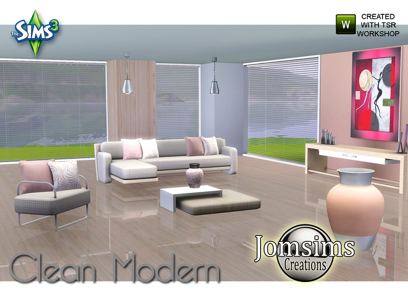 Jomsims 39 clean modern living room for Modern living room sims 4