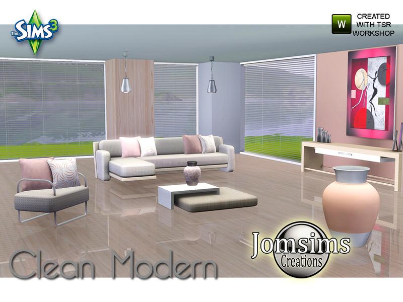 Jomsims 39 clean modern living room for Modern living room sims 4