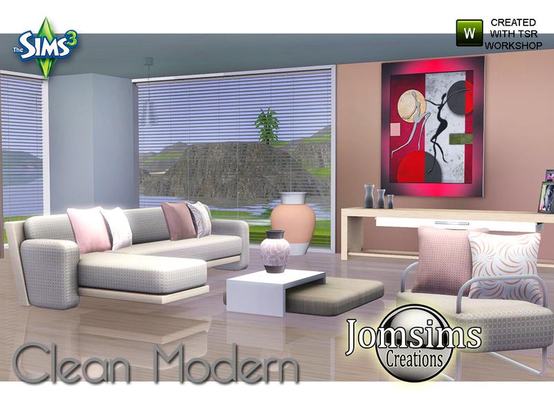 Jomsims 39 clean modern living room for Clean modern living room
