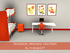 Sims 3 — Fennekin, Braixen, Delphox by Andreja157 — - 3 paintings in 1 file - made in TSRW from EA mesh (Late Night) -