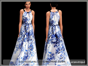 Sims 3 — Sleeveless Halter Floral-Print Gown by Serpentrogue — female adult/ young adult outfit new mesh has small