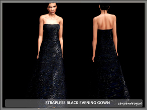 Sims 3 — Strapless Black Evening Gown by Serpentrogue — female adult/ young adult outfit new mesh has small thumbnail