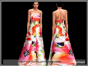 Sims 3 — Strapless Floral Satin Ball Gown by Serpentrogue — female adult/ young adult outfit new mesh has small thumbnail