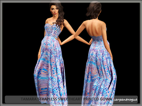 Sims 3 — Tamara Strapless Sweetheart Printed Gown by Serpentrogue — female adult/ young adult outfit new mesh has small