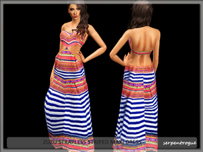 Sims 3 — Zuzu Strapless Striped Maxi Dress by Serpentrogue — female adult/ young adult outfit new mesh has small