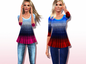 Sims 3 — On-trend Ombre Half-sleeve Tank Top by Harmonia — Style with wide leg trousers for a refreshing summer look.